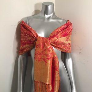 Red & Gold Reversible Pashmina